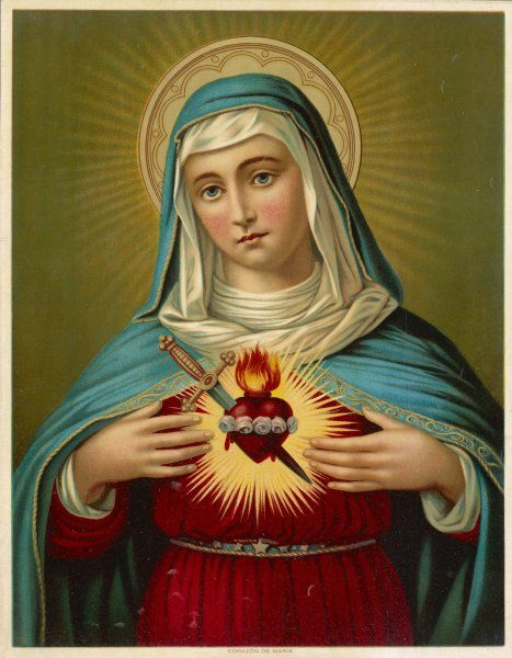Mary displays her sacred heart, which is transfixed by a dagger to symbolise her sorrow, but is ringed with roses and emits flames to symbolise her joys