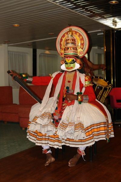 A cultural mask dance in Cochin, Kerala State, India
