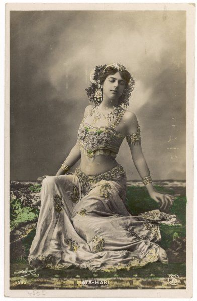 MATA HARI = Eye of Dawn (Margarete Gertrude Zelle) Dutch-born exotic dancer who became a spy for the Germans in 1916, then a double agent for the French; she was executed