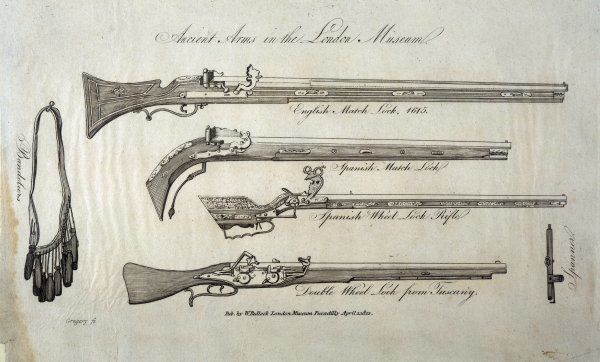 Various firearms -- an English Matchlock, a 1615 Spanish Matchlock, a Spanish Wheel Lock Rifle, a Tuscan Double Wheel Lock, plus bandoliers and spanner