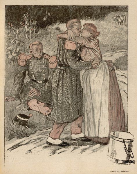 A soldier takes his leave from his wife