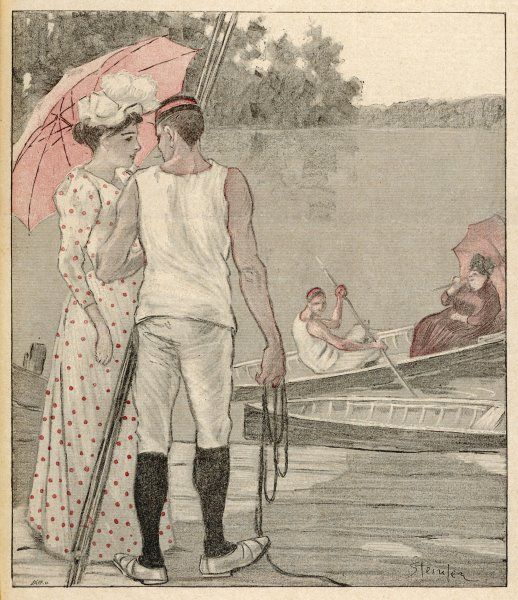 French couples boating on the lake