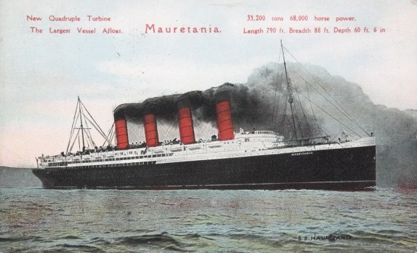 The Mauretania, built in 1906 at the Swan Hunter & Wigham Richardson shipyard in Newcastle-upon-Tyne. At the time, she was the largest liner in the world at 32,000 gross tons, and a length of 790 feet. The Mauretania's four steam turbines developed 68