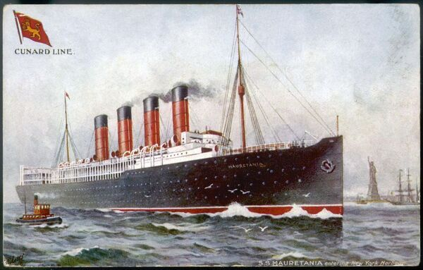 Steam ship of the Cunard line at New York