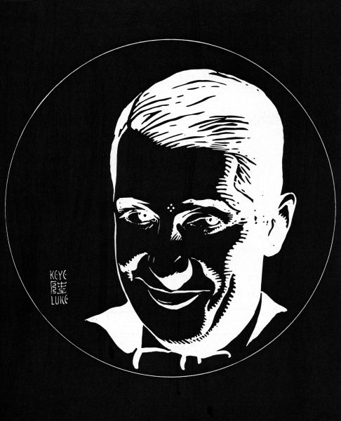 An optical illusion created by Japanese artist, Keye Luke with the face of actor Maurice Chevalier created in black and white. By staring at the four dots between his eyes, you can then project his image onto a blank wall. Date: 1935