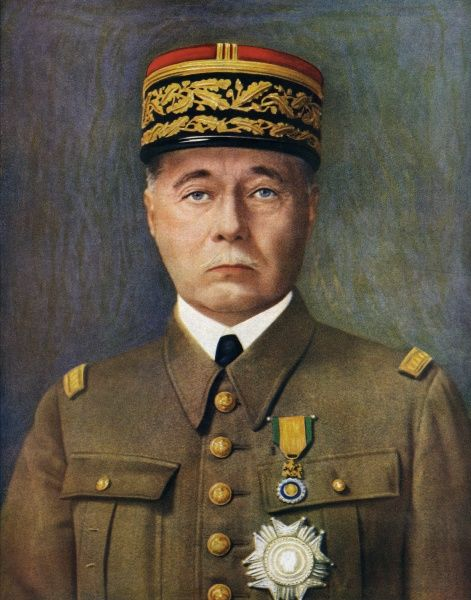 General Marie (or Maurice) Gustave Gamelin (1872-1958), supreme head of the French fighting forces at the beginning of World War Two. Served with distinction in World War One, but his command of forces in the critical days of May 1940 proved to be disastrous