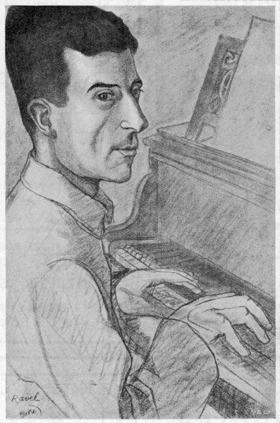 MAURICE RAVEL French musician, depicted at the keyboard