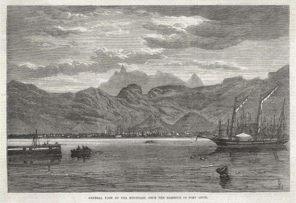 View of PORT LOUIS from the sea Date: 1865