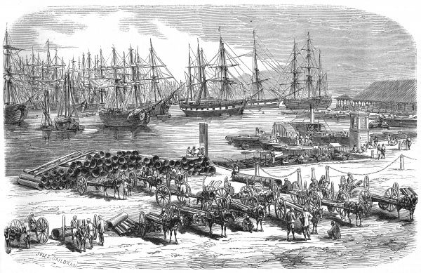 The harbour of PORT LOUIS with ships being loaded Date: 1861