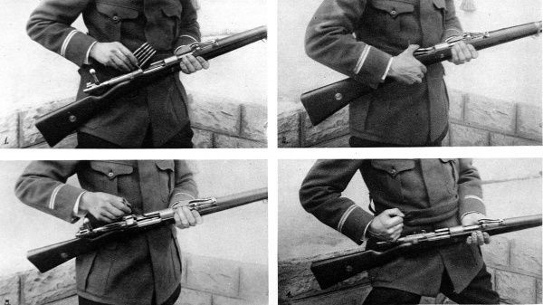 The Mauser and its clip of five pointed cartridges