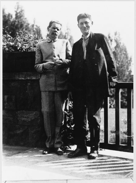MAXIM GORKY Russian writer (born Aleksey Maksimovich Peshkov) with a friend in 1934