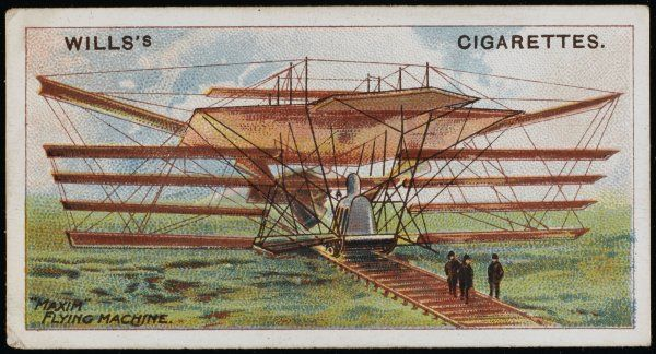 Hiram Maxim's improved multiplane flying machine - less cumbersome than its predecessors, but still a monstrous concoction of wings, wires and huge propellers