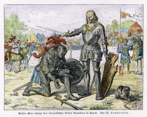 The Emperor Maximilian knights the French warrior Claudius de Barre