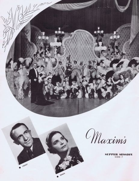 The Maxim's scene from the supper show Montmartre a Minuit at the International Casino, New York, 1938, (Broadway & 45th Street) produced by Clifford Fischer Date: 1938