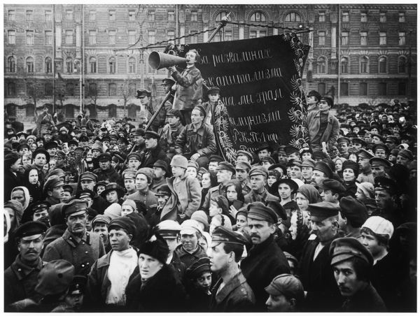 A crowd gathers for the May Day celebrations in Petrograd, the first municipal district