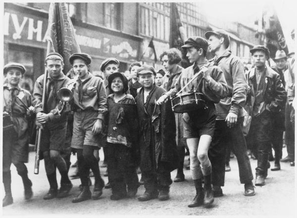 A group of children taking part in the May Day Parade in Moscow 1929