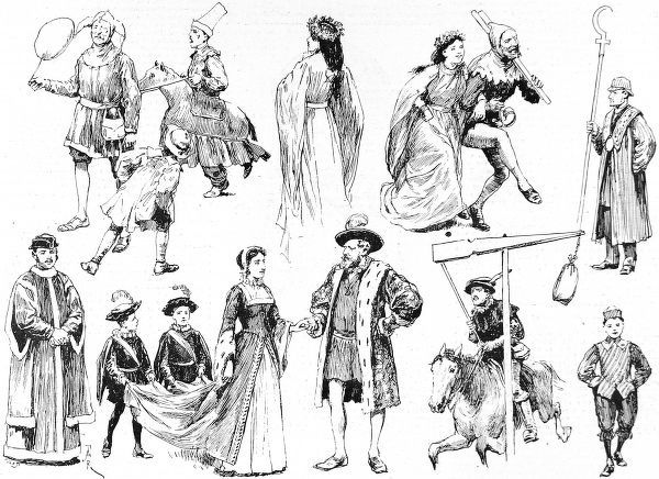 Illustration showing a number of the participants in the May Day Procession at St. Mary Cray, Kent, 1891. These figures are mostly dressed in medieval garb