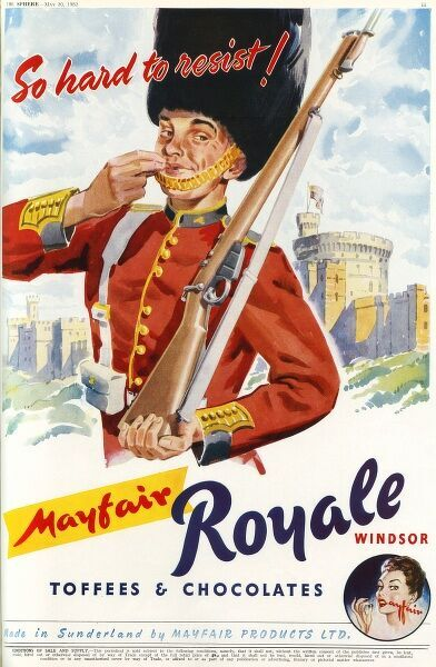 A Beefeater enjoys a Mayfair Royale toffee or chocolate outside Windsor Castle. Date: 1953