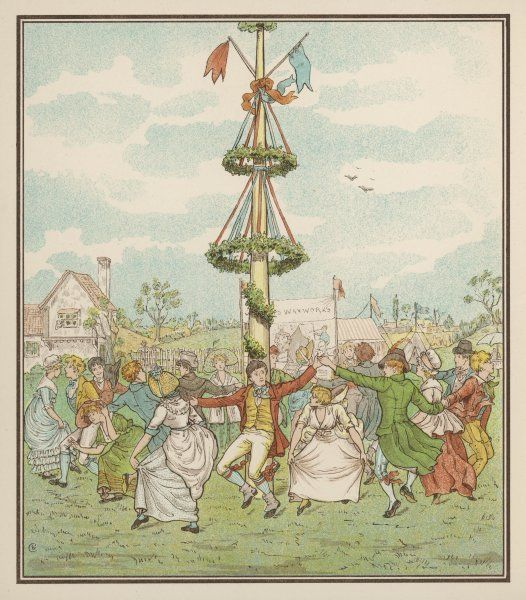 Country people dance round the maypole, the girls ducking in and out of the ring formed by the men