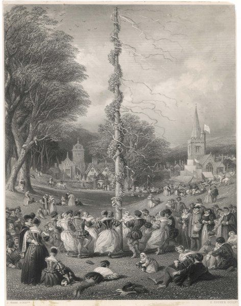 Dancing round the maypole on the village green, in Elizabethan times