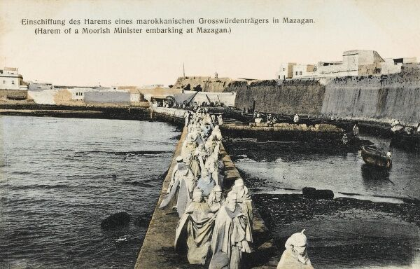 The Harem of a Moorish Minister embarking at Mazagan. The Portuguese fortification of Mazagan, now part of the city of El Jadida, 90-km southwest of Casablanca, was built as a fortified colony on the Atlantic coast in the early 16th century