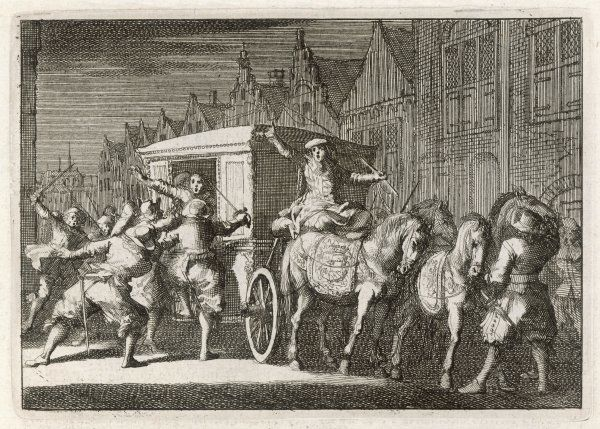 Cardinal Mazarin is dragged from his carriage by roughs, allegedly paid by his enemies, but perhaps it's a put-up job on the Cardinal's part ?