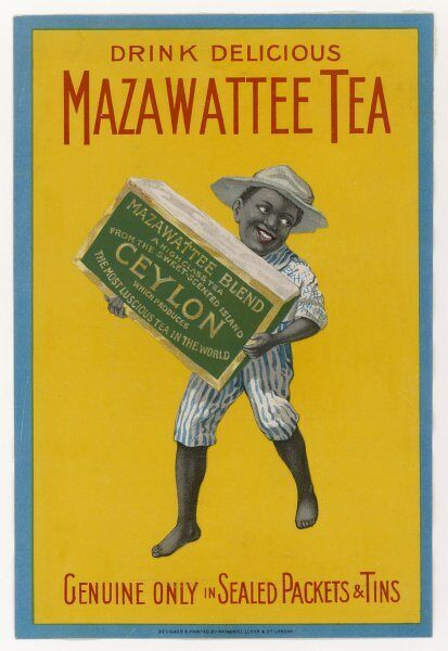 A small native boy holds a huge packet of MAZAWATTEE, delicious tea from Ceylon