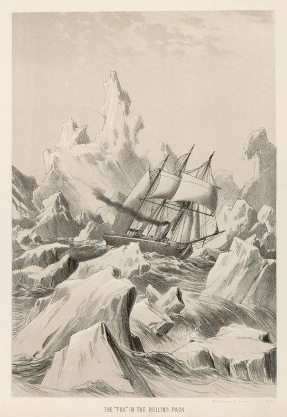 McClintock in 'Fox' in rolling pack-ice. As well as discovering the fate of the Franklin expedition, they revealed about 800 miles of hitherto unknown coast