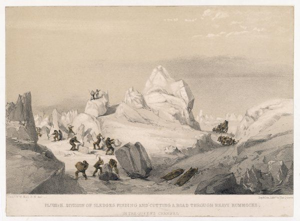 A division of sledges finding and cutting a road through heavy hummocks. McClintock's expedition established a new standard for speedy sledging