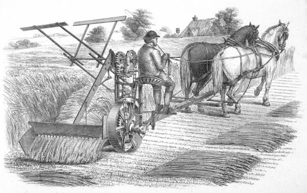 MCCORMICK'S REAPER McCormick's patent American horsedrawn reaper being used in the field