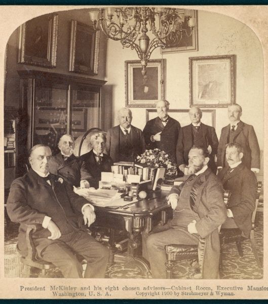 WILLIAM MCKINLEY President McKinley with his eight chosen advisers in the Cabinet room