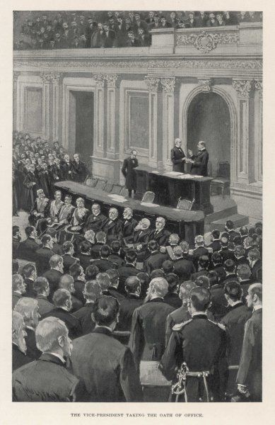 William McKinley's vice- president, Garret A Hobart, takes the oath of office in the Senate