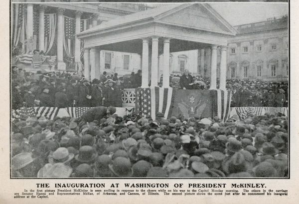 WILLIAM MCKINLEY The second inauguration of William McKinley at the Capitol Washington. Shown making his inaugural address