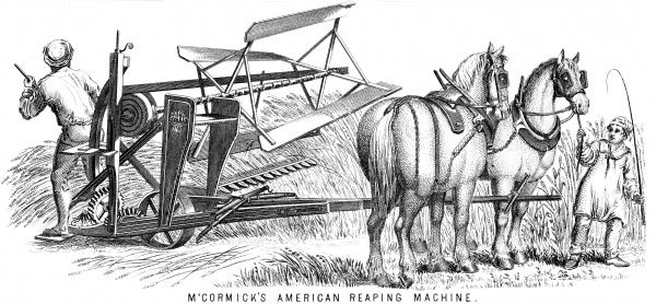 MCCORMICK'S REAPER McCormick's patent American horsedrawn reaper being used by two farm labourers. Date: 1850s