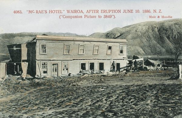 McRae's Hotel, Wairoa, New Zealand after the eruption of Mount Tarawera on 10th June 1886
