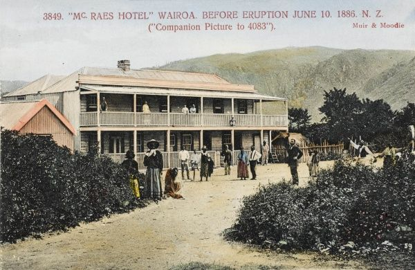 McRae's Hotel, Wairoa, New Zealand before the eruption of Mount Tarawera on 10th June 1886 Date: c. 1886