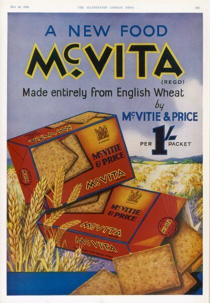 McVitie's McVita wheat biscuits, made entirely from English wheat at one shilling a packet