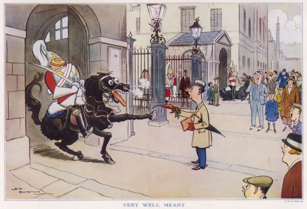 A well-meaning tourist offers a carrot to the horse of a Guard standing in its traditional sentry post in Whitehall, London, much to the horse's astonishment. Not the done thing