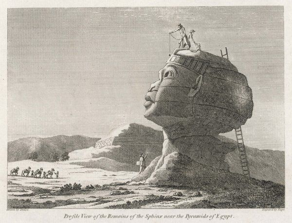 Denon, archeologist attached to Napoleon's Egypt expedition, measures the Sphinx, which is in much better condition than it is today