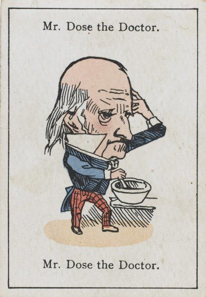"Mr Dose the Doctor, from ""Happy Families"" devised in Britain by Mr Jacques in 1861"