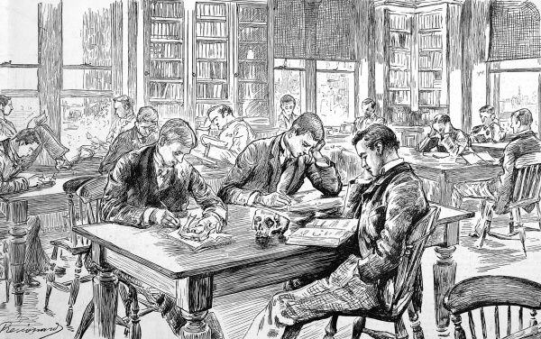 In the library; a sketch of students studying at St Thomas's Hospital