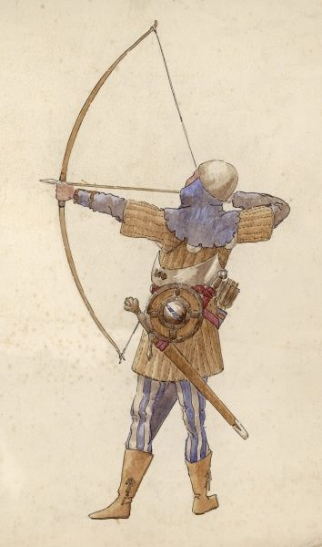 A medieval archer prepares to fire his bow
