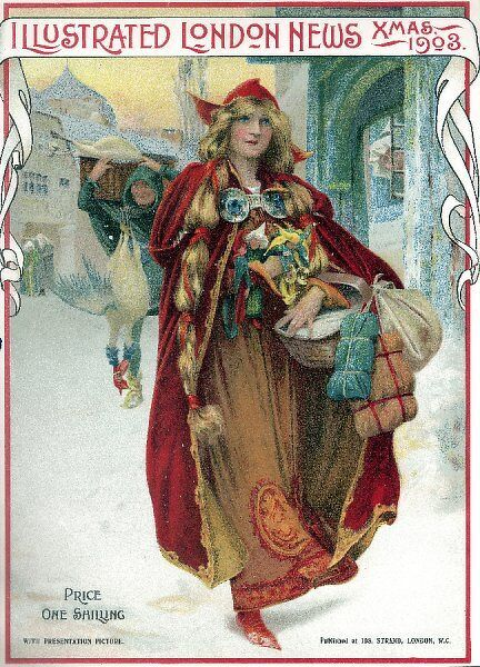 Young woman in Saxon or Medieval dress carrying a basket of gifts through a snow-lined street. A turkey seller can be seen behind her
