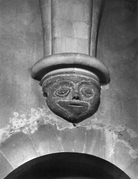 A corbel on Sompting Church, Sussex, England. Date: Medieval