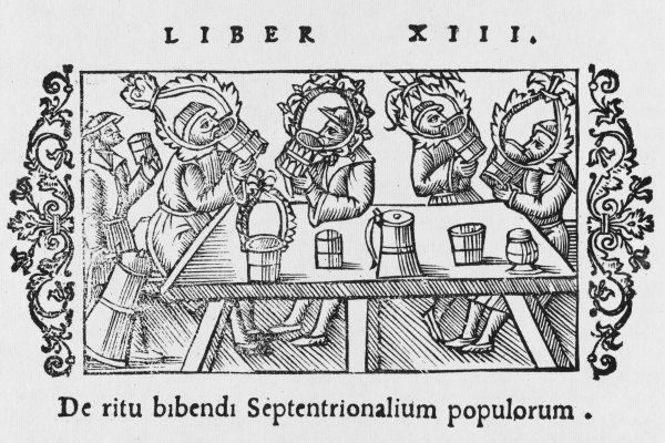 A medieval drinking scene in Scandinavia - a serious drinking session with huge and elaborate tankards