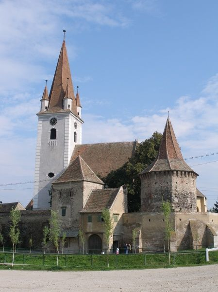 View of a medieval fortified church in Cristian (Grossau), Sibiu, Romania. The church was built in the 13th century