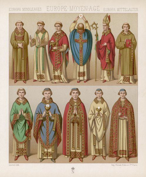 Various clerics of the Middle Ages in their ecclesiastical habits