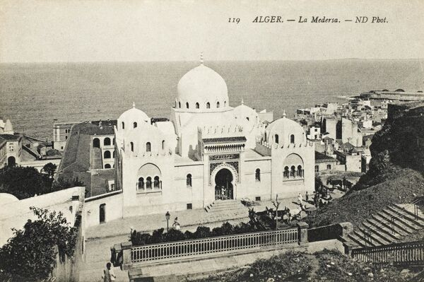 The Medressa (Islamic Religious School) at Algiers, Algeria, with a view out over the Mediterranean Sea