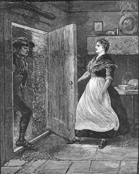 Engraving showing a dramatic moment as a woman opens her front door, on a dark and wet night, to a tall, dark man, 18th century