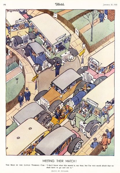 Humorous illustration by Fougasse (Cyril Kenneth Bird) showing a group in s small touring car hemmed in a traffic jam between large coaches and buses ferrying spectators to a match. The man in the car says, 'I dont' know what this match is